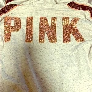 Victoria's Secret pink rose gold and gray hoodie